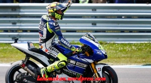 Yamaha MotoGP rider Rossi of Italy celebrates after winning the Dutch Grand Prix in Assen