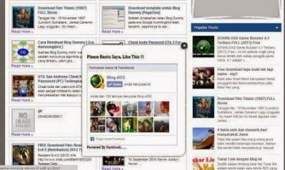 Cara Membuat Facebook FanPage Melayang di Blog