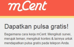 Cara mendapatkan pulsa gratis Mcent